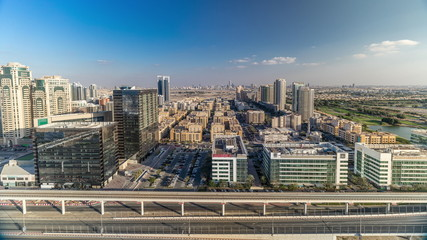 Tecom, Barsha and Greens districts aerial view from Internet city timelapse