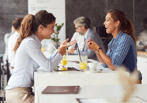friends in restaurant talking coffee fun
