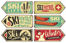 Ski And Winter Holiday Retro S...