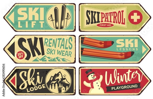 Papel de parede  Ski and winter holiday retro signs collection