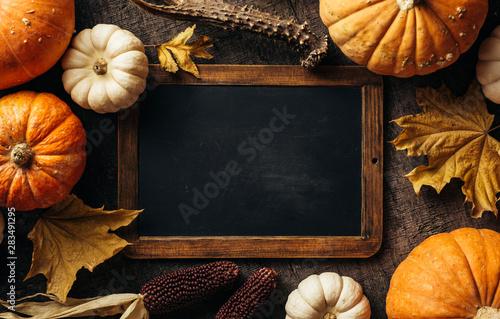 Vintage chalkboard for your message and Autumn background with festive decoration Canvas Print