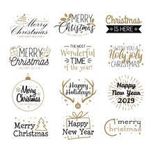 Merry Christmas Labels And Greetings Set Vector Illustration. Festive Lettering Written In Black And Golden Font On White Background Flat Style. Xmas Eve Concept
