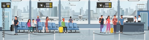 Obraz Modern international airport vector illustration. Passengers with luggage in arrival waiting room or departure lounge with chairs, information panels. Terminal hall with big window flat style concept - fototapety do salonu