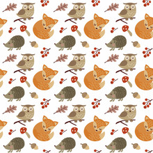 Cute Forest Animals Seamless P...