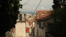 Pretty Alley With Top View Of City In Split, Croatia.