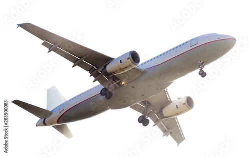 Carta da parati  modern airplane on isolated white background