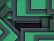 Leinwanddruck Bild - Green geometric minimal abstract background, 3d paper texture background