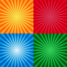 Vintage Or Retro Sunburst Background Templates. Sunburst Yellow Red Blue And Red Colors. Burst Design.