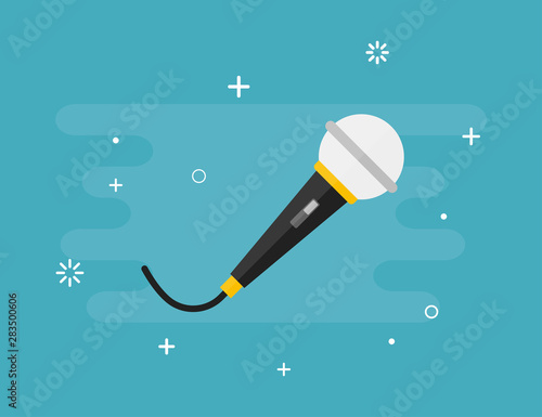 Photographie Microphone vector isolated music record symbol on blue background