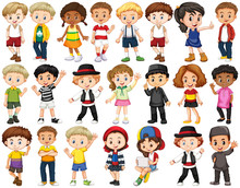 Set Of Happy Children Waving H...