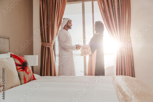 Poster Abou Dabi Arabic couple lifestyle moments at home