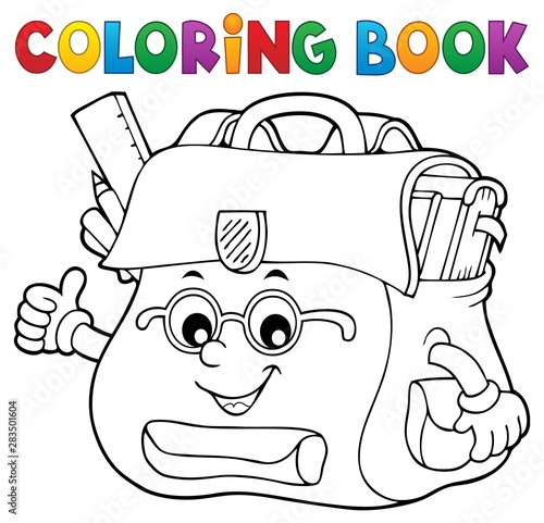 Photo sur Toile Enfants Coloring book happy schoolbag topic 2