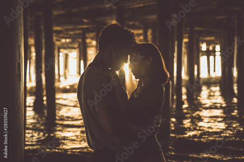 Happy couple spending time in Santa monica Canvas Print