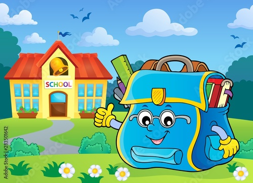 Wall Murals For Kids Happy schoolbag topic image 6
