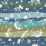 Fototapeta Dinusie - Seamless pattern with dinosaur bones and prehistoric plants. Pattern for children's fabrics with scuffs.