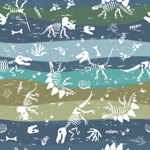 Seamless Pattern With Dinosaur Bones And Prehistoric Plants. Pattern For Children's Fabrics With Scuffs.