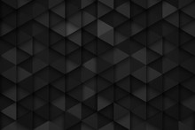 3D Render Science Technology Triangular Pattern Dark Gray Abstract Background. Three Dimensional Tech Triangle Structure Ultra High Quality Wallpaper