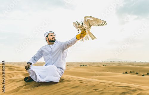 Poster Abou Dabi Arabic man with traditional emirates clothes walking in the desert with his falcon bird