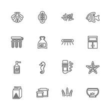 Aquarium - Flat Vector Icons