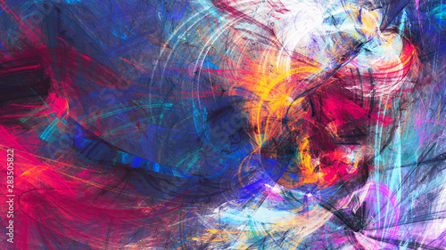 Naklejki Malarstwo bright-artistic-splashes-abstract-painting-color-texture-modern-futuristic-pattern-multicolor-dynamic-background-fractal-artwork-for-creative-graphic-design