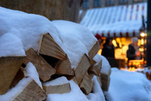 Firewood In The Snow For Christmas In December