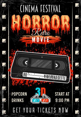 Vászonkép  Horror movie colored retro poster with videotape