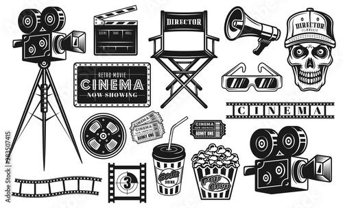 Fotografia, Obraz Cinema and cinematography set of vector objects