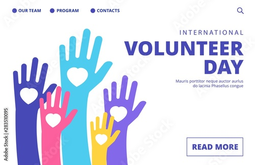 Fotografie, Tablou Volunteer day landing page