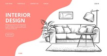 Interior Design Landing Page. Vector Sketch Of Living Room. Hand Drawn Furniture. Illustration Of Furniture Interior Room, Sketch Living Apartment