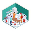 Kitchen disinfection. Isometric pest control. Vector disinfection service team. Illustration of nsecticide insect kitchen, worker service again cockroach