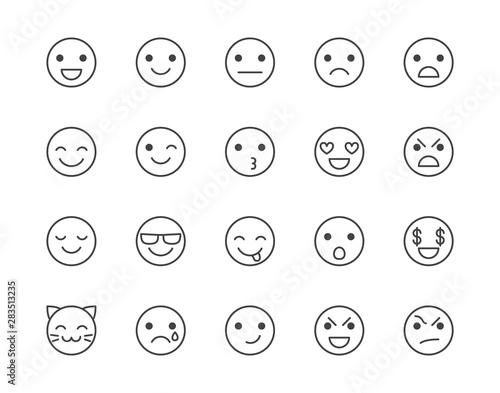 Fotografiet  Emotions flat line icons set