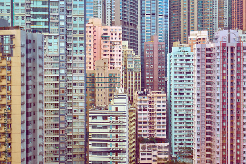 Canvas Print Many tall residential buildings in central Hong Kong