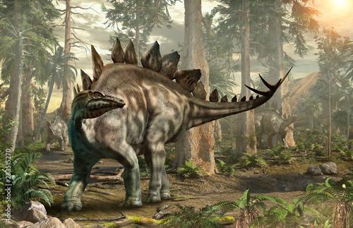 Fototapeta  Stegosaurus forest scene 3D illustration