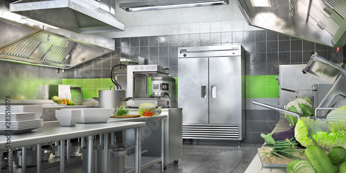 Fotografie, Obraz  Industrial kitchen. Restaurant modern kitchen. 3d illustration