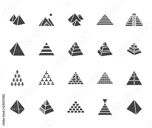 Pyramid flat glyph icon set. Egyptian monument, abstract process infographic, ponzi scheme, network marketing, leader concept vector illustrations, signs. Silhouette pictogram pixel perfect 64x64
