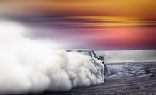 Car Drifting, Burning Rubber W...