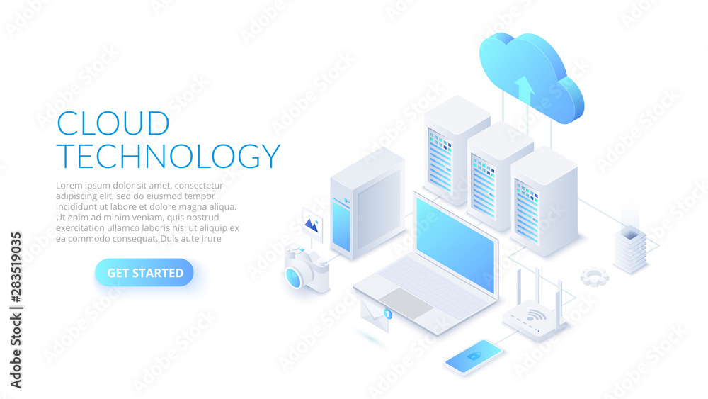 Fototapeta Isometric cloud technology with datacenter, laptop and other devices. Web hosting concept.