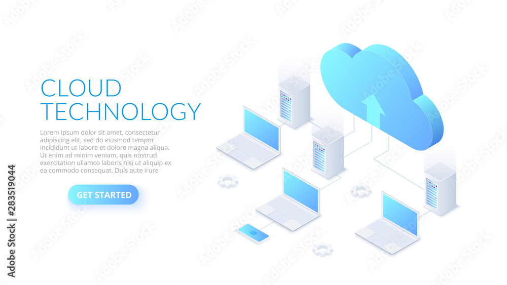 Fototapeta Isometric cloud technology with datacenter and laptops. Web hosting concept. Landing page template.