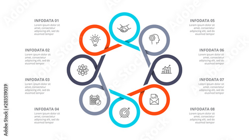 Fényképezés Cyclic diagram infographic with circles