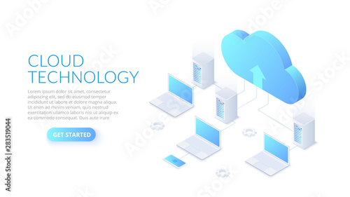 Fototapeta Isometric cloud technology with datacenter and laptops. Web hosting concept. Landing page template. obraz