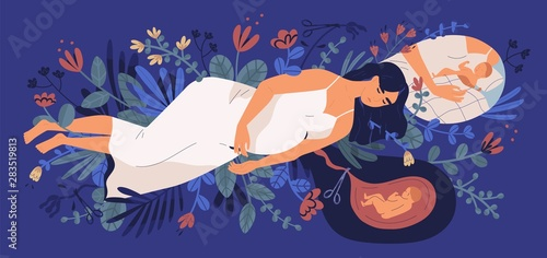 Photo Sad young pregnant woman lying on blooming flowers, thinking of her unborn baby and making choice