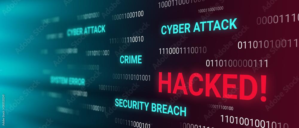 Fototapeta Hacked information concept