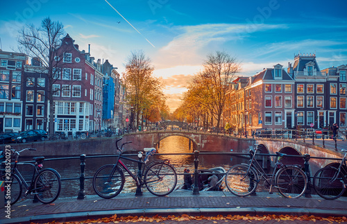 Awesome streets in Amsterdam Canvas Print
