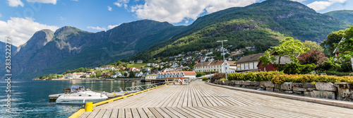 Village Aurlandsvangen at the coast of Aurlandsfjord, branche of Sognefjord and starting point of the National Scenic route Aurlandsfjellet