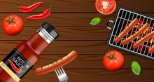 Bbq Grill And Sauce Vector Rea...