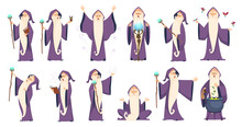 Wizard. Mysterious Male Magician In Robe Spelling Oldster Merlin Vector Cartoon Characters. Sorcerer Character In Costume, Spell Magician, Witchcraft And Magical Illustration