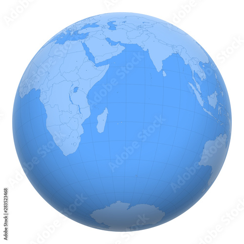 Mauritius on the globe. Earth centered at the location of ...