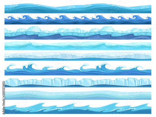 Fototapeta Water game seamless. Ice ocean sea or river layers parallax ready surface vector ui collection for games. UI pattern ice sea or ocean illustration obraz