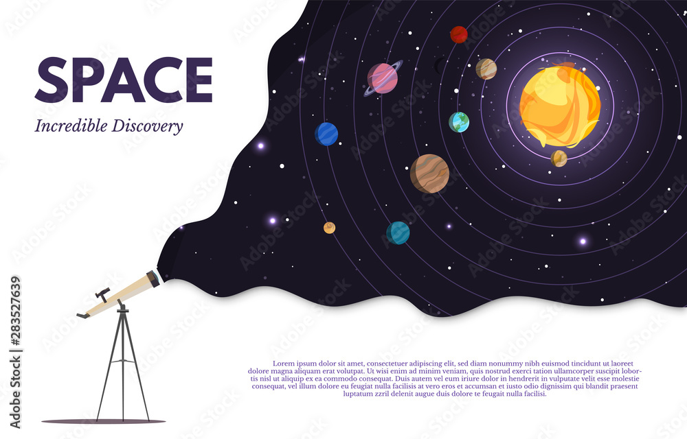 Fototapety, obrazy: Space exploration flat banner vector template