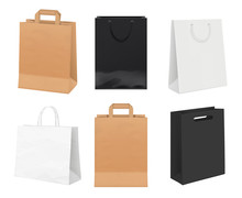 Paper Bags Empty. Identity Packages From White And Kraft Paper Shopping Bags Vector Realistic Template. Illustration Of Bag Package For Retail, Pack Made From Cardboard
